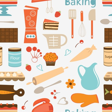 Colorful seamless bakery pattern. Vector format Vector