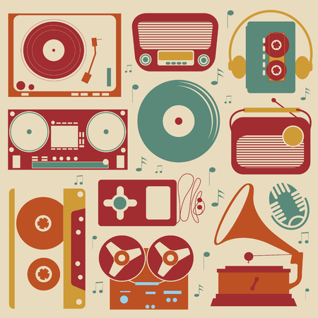 design design elemnt: Retro style collection of musical related items Illustration