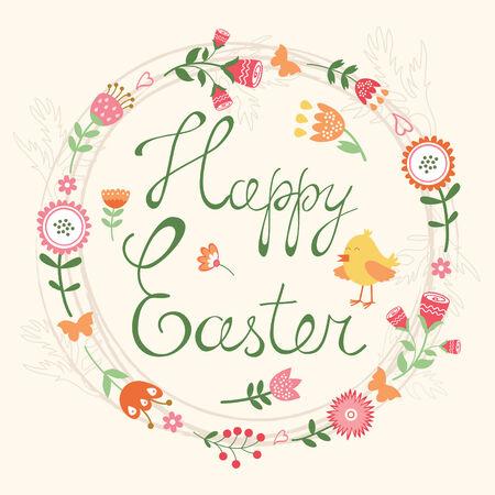 design design elemnt: Easter card with floral wreath Illustration
