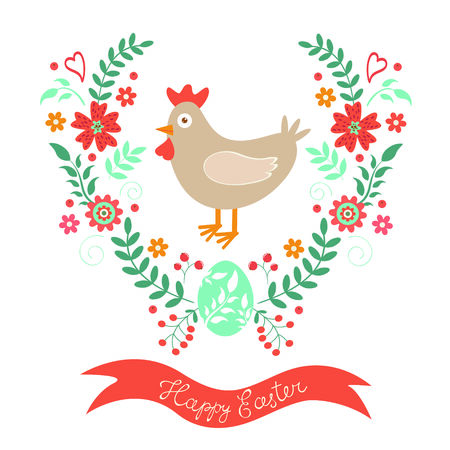 design design elemnt: Happy Easter card with chicken and floral wreath