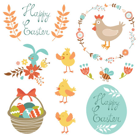 Colorful collection of Easter related elements Vector