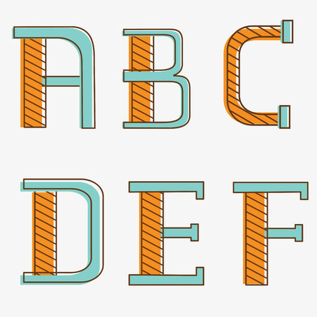 Colorful alphabet letters a, b, c, d, e, f Vector
