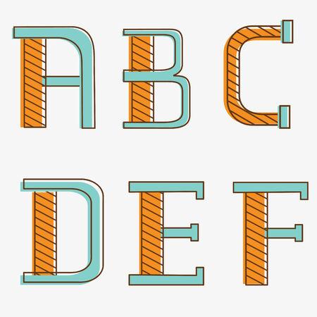 Colorful alphabet letters a, b, c, d, e, f Vector