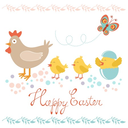 design design elemnt: Colorful Easter card with chicken and chicks