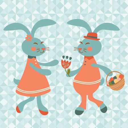 Cute rabbits couple on a geometric background Vector