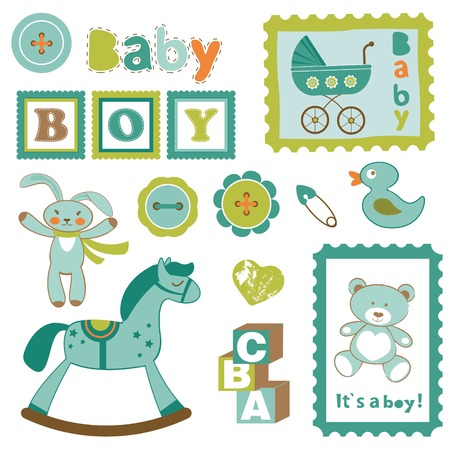 Baby boy toys cute collecton Vector