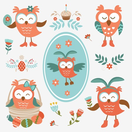 Cute colorful Easter olws collection Vector