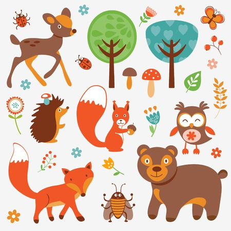 Funny forest animals collection Vectores