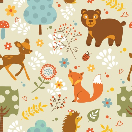 Colorful woodland animals  seamless pattern Vectores