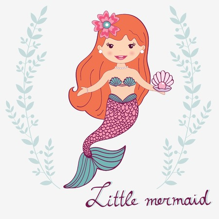 fairytale character: Illustration of a  beautiful little mermaid Illustration