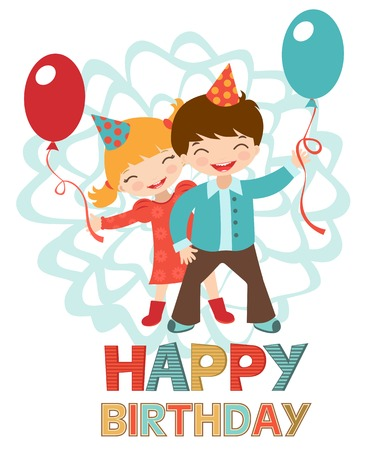 Birthday card with happy kids couple holding balloons Vector