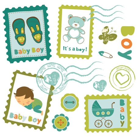 Cute baby boy stamps collection Vector