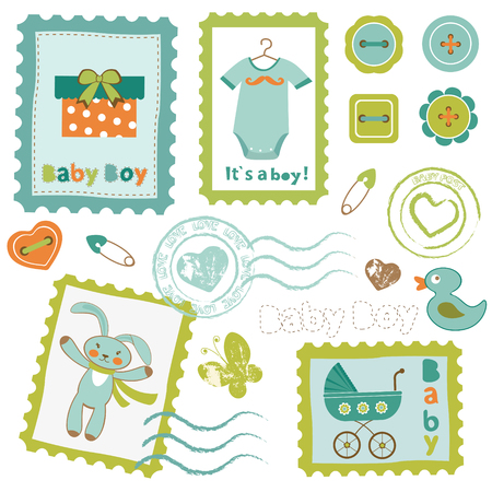 Colorful baby boy stamps set Vector