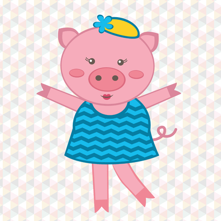 Illustration of cute fashionable pig Vector