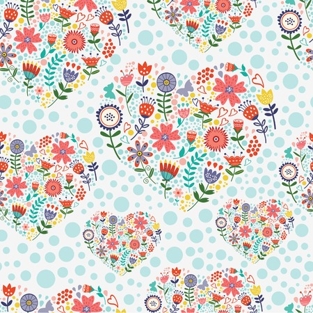 design design elemnt: Beautiful hearted floral  seamless pattern