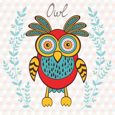 Cute illustration of bright owl character Vector