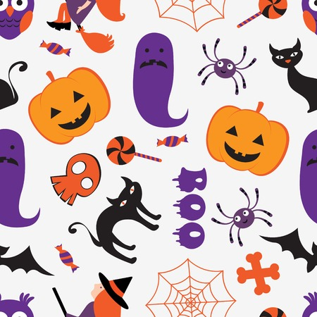 Colorful Halloween seamless pattern. Vector format Vector