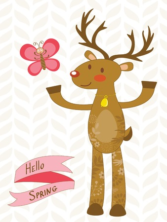 hello heart: Hello spring. Illustration of cute deer and butterfly