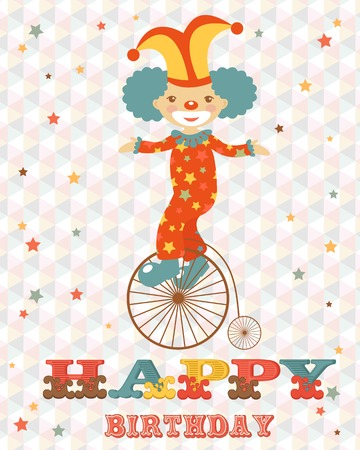 Birthday card with happy clown. vector illustration Vector