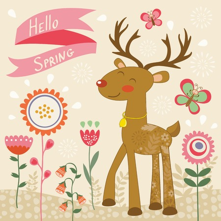 hello heart: Hello spring card with deer. Illustration of cute deer and butterflies Illustration
