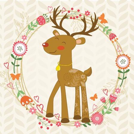 hello heart: Illustration of cute dear in floral wreath