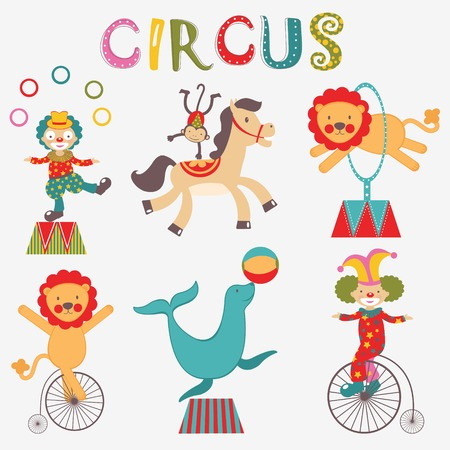 juggler: Colorful collection of circus performance icons