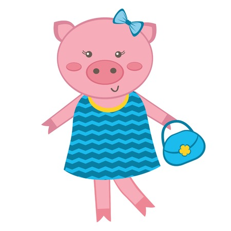 Illustration of fashionable pig Vector