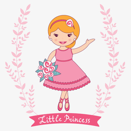 Illustration of beautiful princess posing with flowers Vector