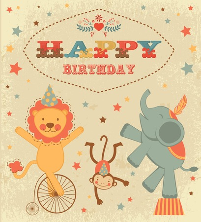 Vintage birthday card with circus animals Vector