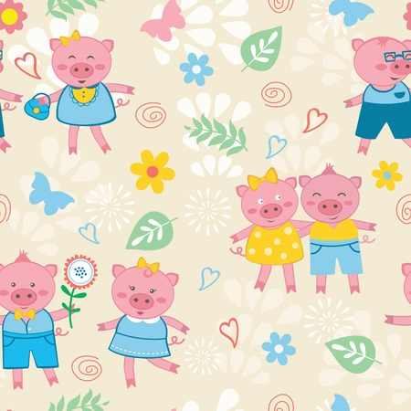 Cute pigs colorful seamless  pattern Vector
