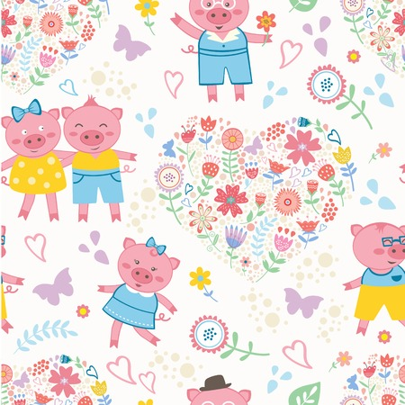 Seamless colorful pattern with cute pigs Vector