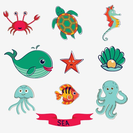Cute set of marine creatures Vector