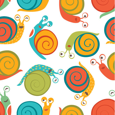 modern garden: Beautiful seamless pattern with cute happy snails