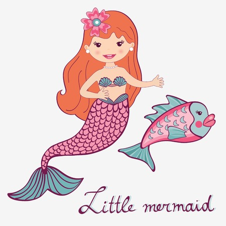 Illustration of little mermaid and fish Vector