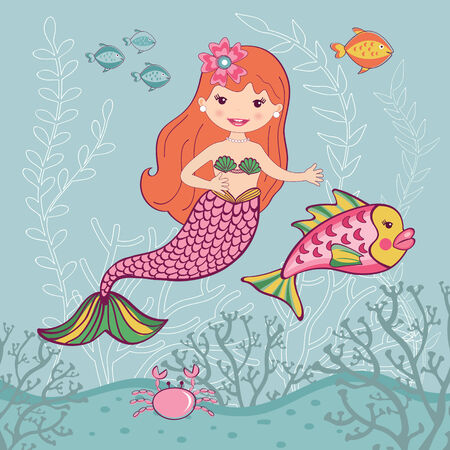 fairytale character: Little mermaid and big fish underwater