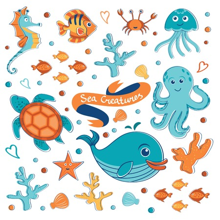 Cute sea creatures collection. Vector illustration Vector