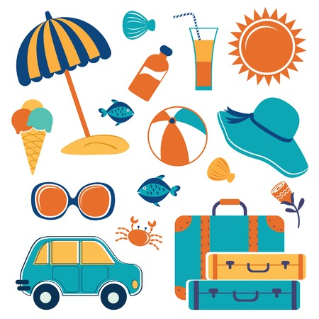 pelota caricatura: Vacaciones de verano iconos conjunto de colores Vectores