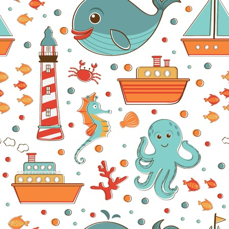 jelly fish: Seamless pattern with ships, fishes, octopus, sea horse and lighthouse