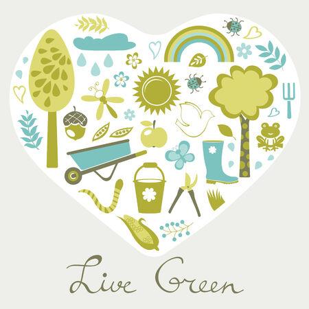 design design elemnt: Live green. Eco elements in a shape of heart. Illustration