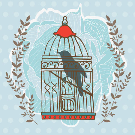 prison house: Illustration of bird in cage