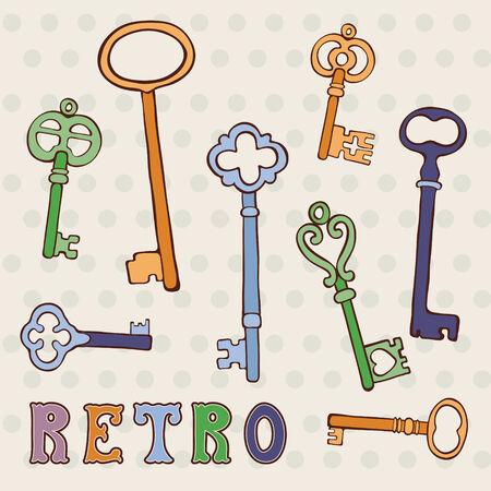 passkey: Collection of retro keys on polka dor background. vector illustration. Illustration