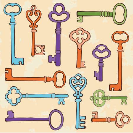 antique key: Retro style keys colorful composition