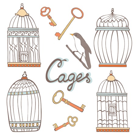 key to freedom: Beautiful collection of hand drawn cages