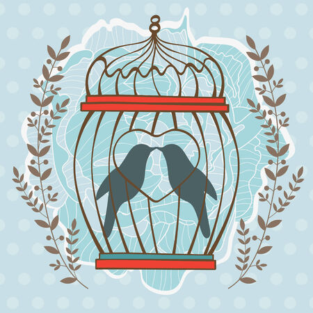 Beautiful card with birds in cage Vector