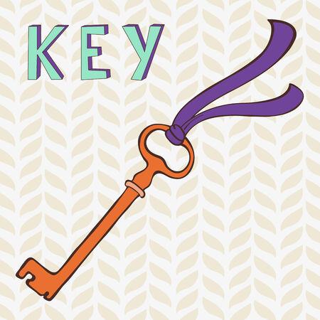 passkey: Illustration of retro key with ribbon
