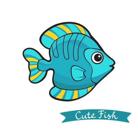 Illustration of cute  colorful fish