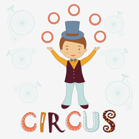 Circus card with cute little juggler Vector