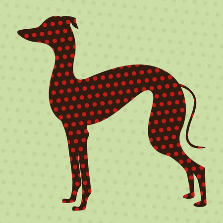pure breed: Illustration of dotted greyhound silhouette Illustration