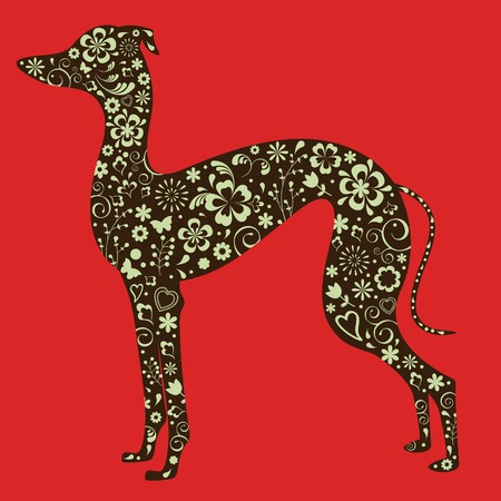 greyhound: Illustration of floral greyhound silhouette