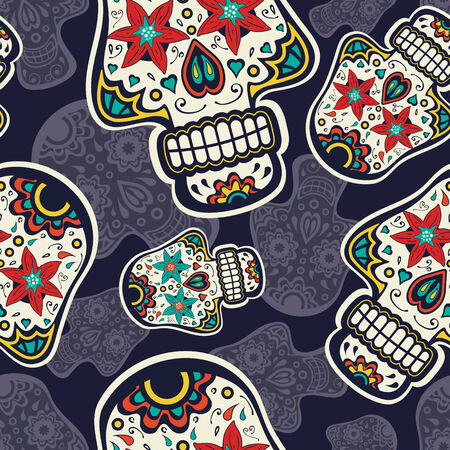 Sugar skulls colorful seamless  pattern Vector